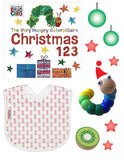 The Baby's Room Very Hungry Caterpillar's Christmas Gift Box with The Very Hungry Caterpillar's Christmas 123 Board Book, Jersey Cotton Red Pineapple Bib, Wooden Blue Worm Toy and Wooden Kiwifruit
