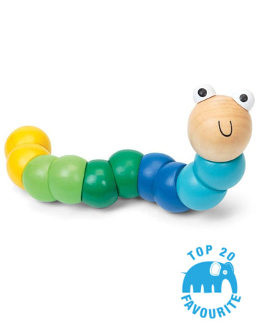 Wooden mini worm blue