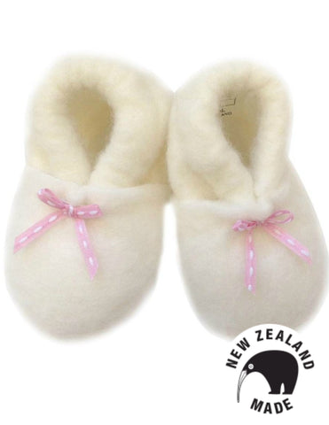 Pure NZ Made Felted Merino Booties - Pink Ribbon