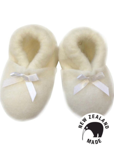 Pure New Zealand Made Felted Merino Booties - White Ribbon
