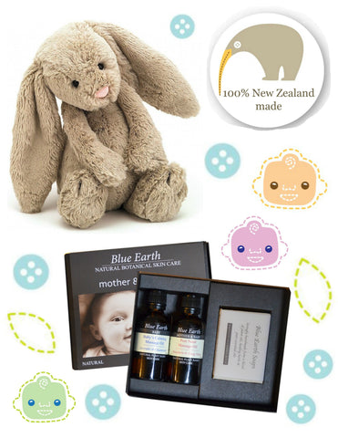 Mumma & Bubba Baby Gift Set - incluldes Jellycat Bashful Beige Bunny, New Zealand-made Blue Earth Mother & Baby Gift Set