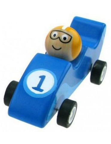 Wooden Pull Back Racer - Blue