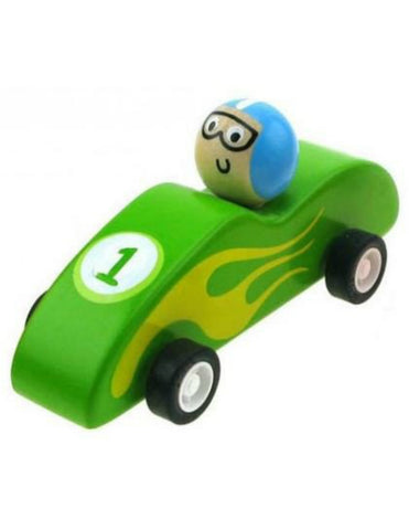 Wooden Pull Back Racer - Green