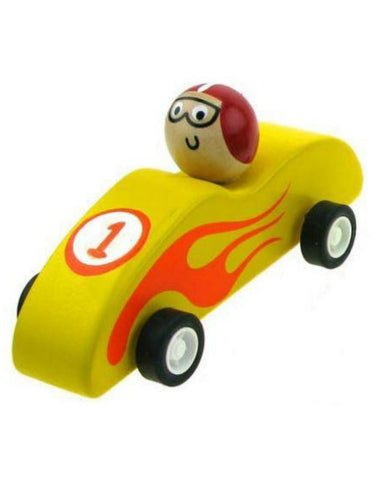 Wooden Pull Back Racer - Yellow