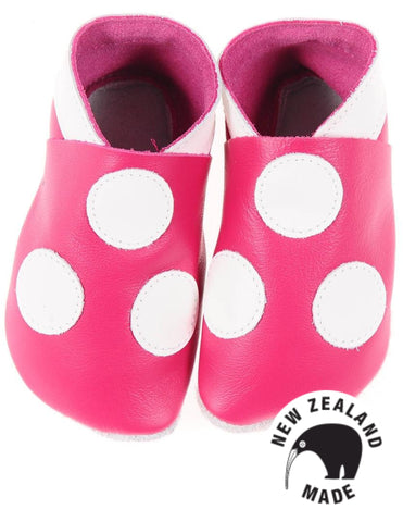 Deep Pink Spots - NZ made leather shoes