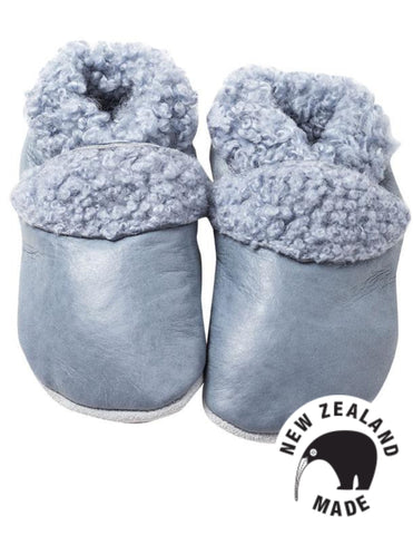 Soft New Zealand made leather moccasins - pale blue