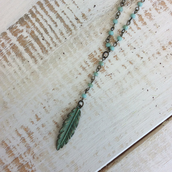 Seafoam Beaded Necklace With Feather