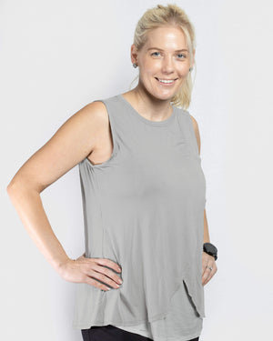 JUST ARRIVED!! - Jessica Cross Over Nursing Tank - Grey Marle