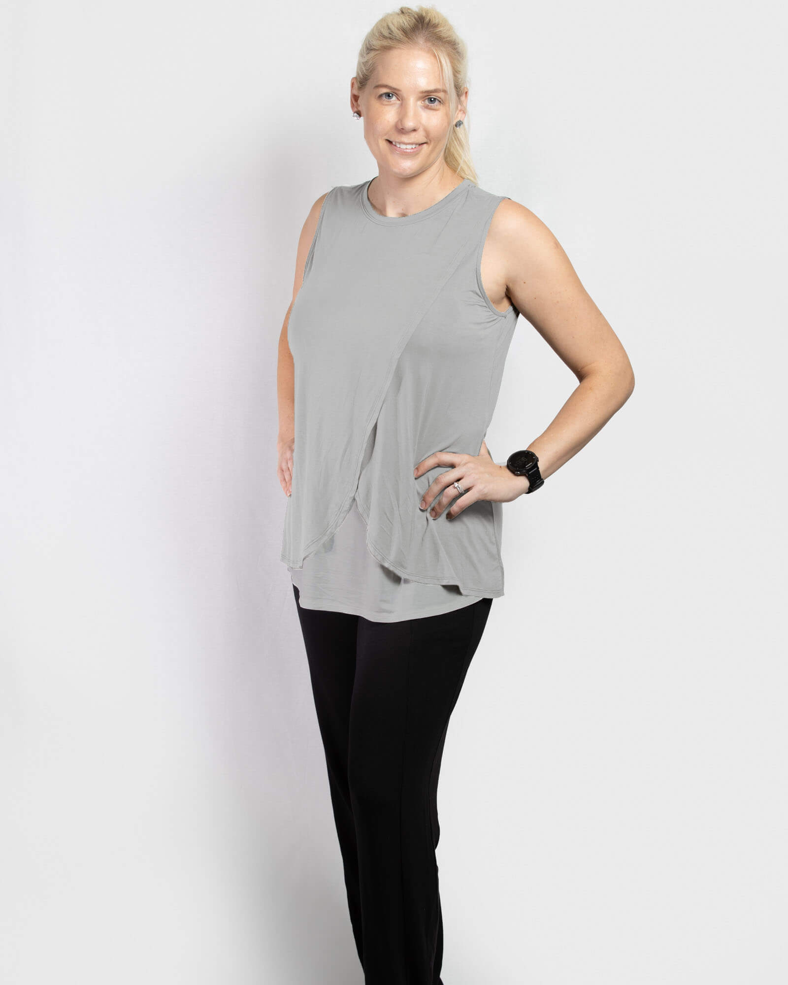 COMING SOON!! - Jessica Cross Over Nursing Tank - Grey Marle