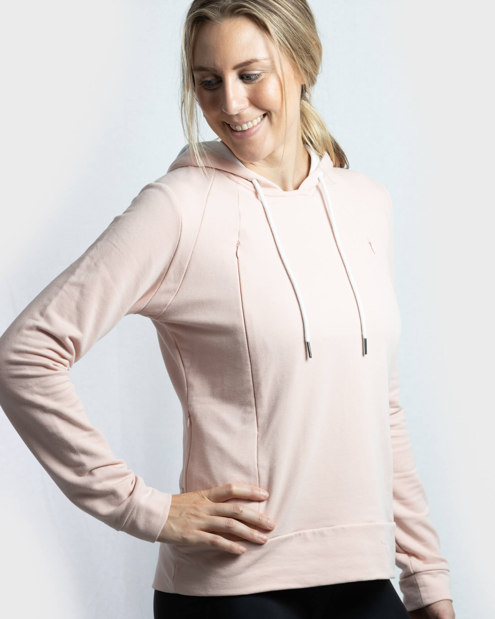Signature Breastfeeding Hoodie Misty Rose - mammojo lactivewear