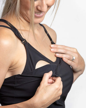 Signature Breastfeeding Swimsuit Tankini Black - mammojo lactivewear