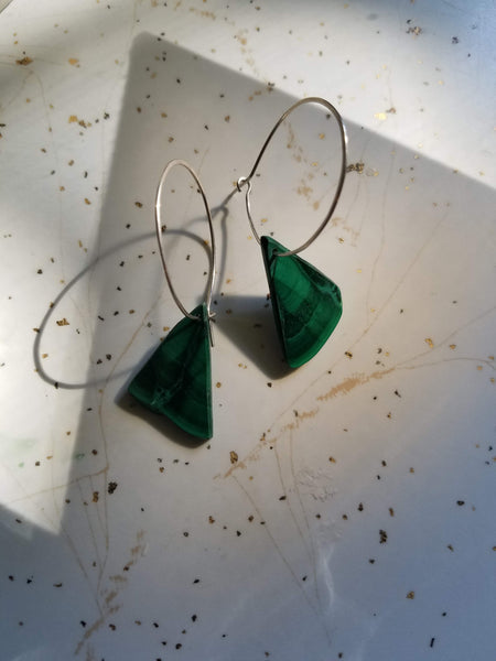 Green Malachite Stone Hoops