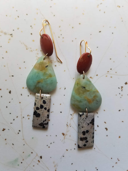 Triple Stone Earrings #2