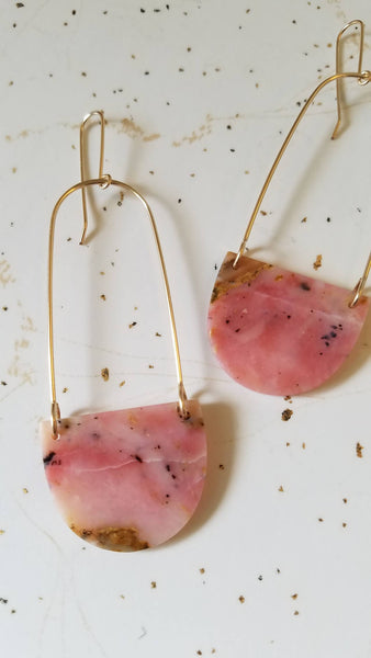 Elongated Stone Slice Drop Earrings / Pink Peruvian Opal and Gold