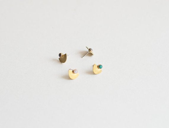 Turquoise Studs, Half Circle Studs, Moonstone Studs, Lapis Studs | Suma Stud Earrings, Small