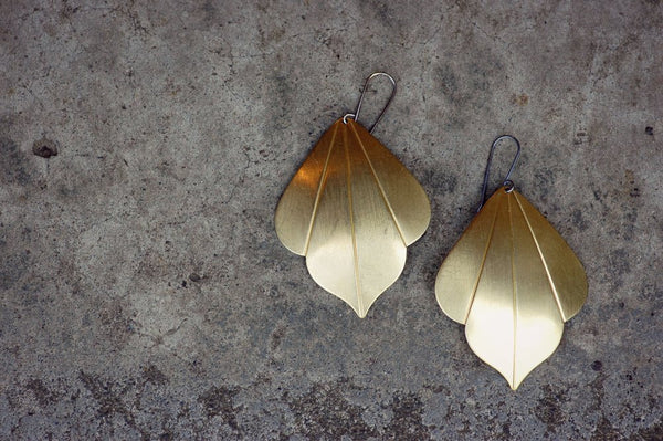38ad087e6 Bohemian Gold Earrings, Gypsy Earrings, Brass Leaf Earrings | Large Lu –  lumafina