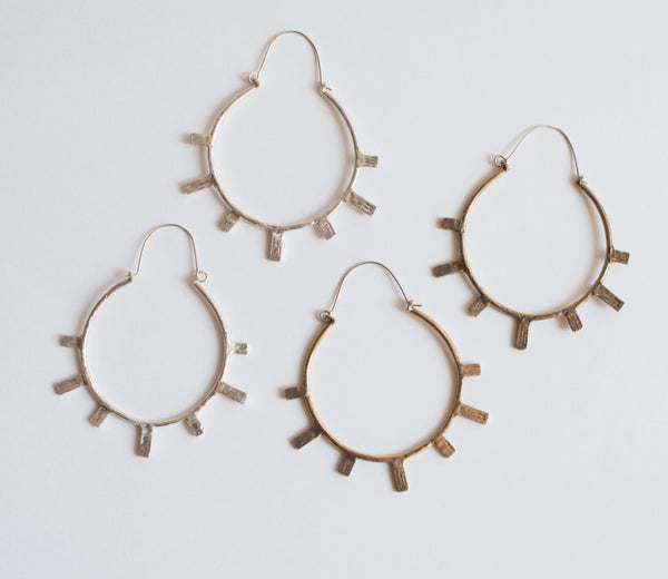 Sterling Silver Sun Ray Hoops