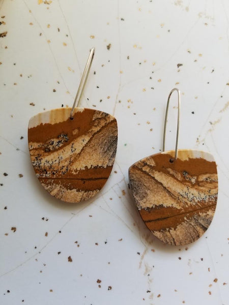 Picture Jasper Large Stone Earrings
