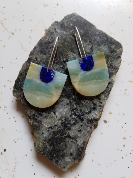 Color Theory Earrings Lapis and Amazonite