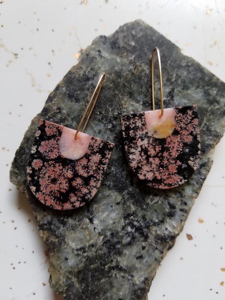 Color Theory Earrings Pink Opal and Snowflake Obsidian