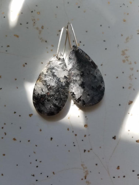 Black Quartz Teardrop Earrings