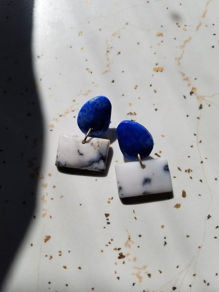 Lapis and Dendrite Opal Earrings
