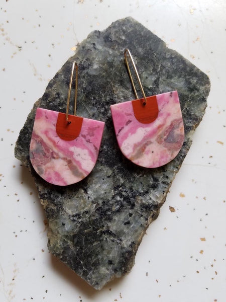 Color Theory Earrings Red Jasper and Pink Rhodonite
