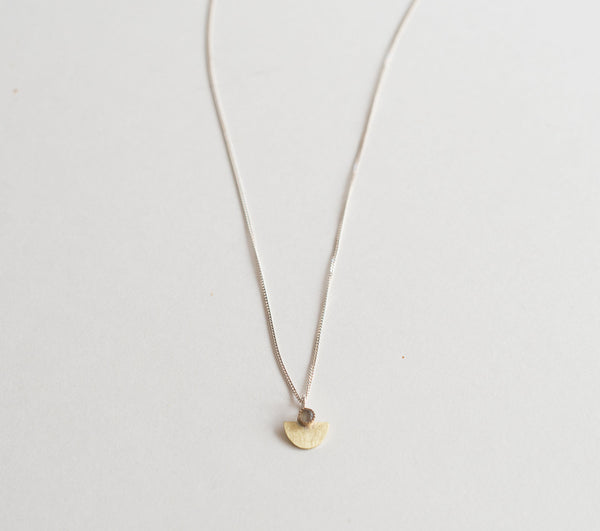 Aztec-Inspired, Half Circle Arc Pendant with Stone | Small Suma Necklace