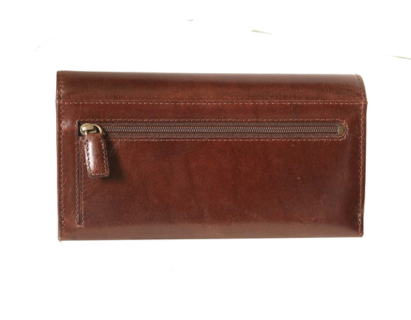 Hand Crafted Paris Genuine Aniline Leather Women Brown Clutch Wallet - WeMe