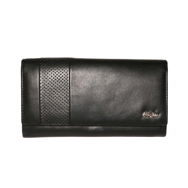 Contemporary Paris Genuine Leather Nappa Waxy Women Black Clutch Wallet - WeMe
