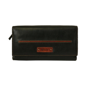 Paris Genuine Leather Oily Waxy Women Black Clutch Wallet - WeMe