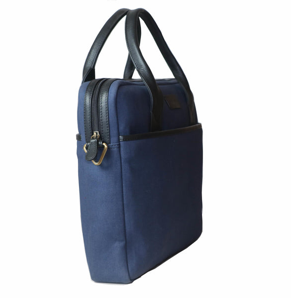Formal Trendy Genuine Leather Canvas Unisex Blue Bag - WeMe