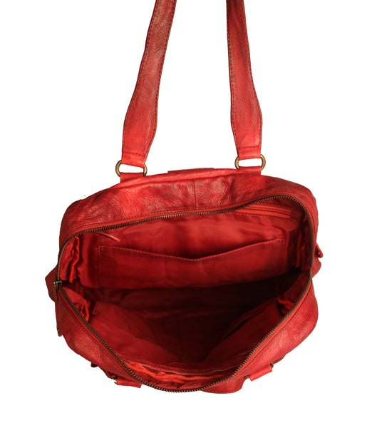 Victoria Genuine Leather Women Red Shoulder Bag - WeMe