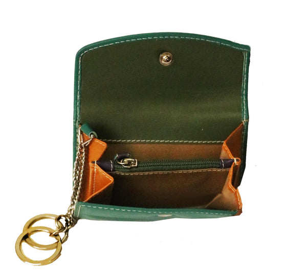 Multiutility Zen Genuine Leather Unisex Green Coin & Keys Handy Wallet - WeMe