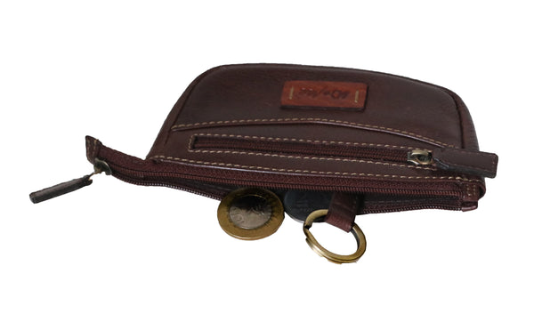 Zen Genuine Leather Unisex Brown Coins & Card Wallet & Key Chain Holder - WeMe