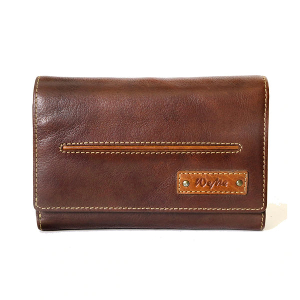 Latest Paris Genuine Leather Oily Waxy Women Brown Clutch Wallet - WeMe