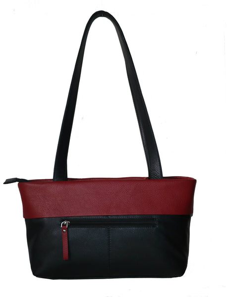 Classic Unique Genuine Leather Women Black Red Handbag - WeMe