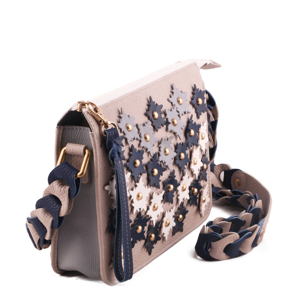 Floral 3D Genuine Leather Women Off White Crossbody Bag - WeMe