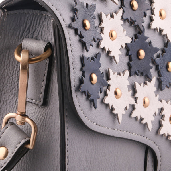 Floral Genuine Leather Women Grey Shoulder Bag - WeMe