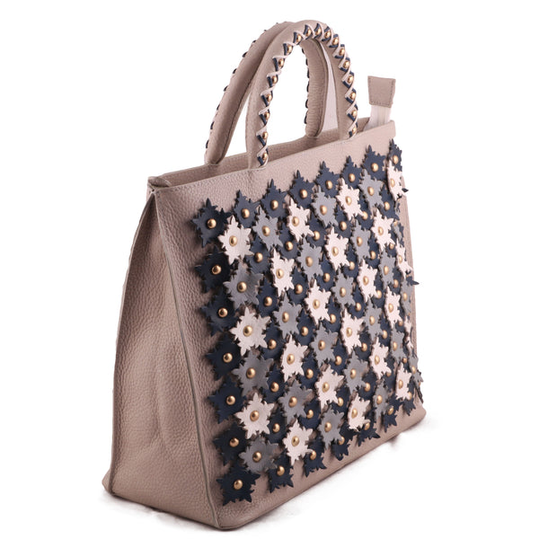 Floral Genuine Leather Women Off White Handbag with 3D Embellishments - WeMe