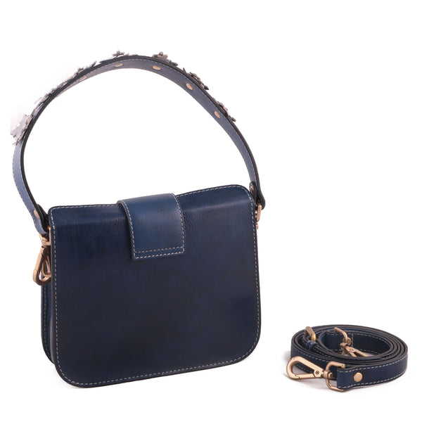 Blue Genuine Leather Women Clutch Style Crossbody Bag - WeMe