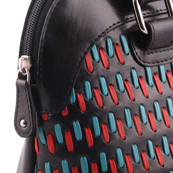 Multicoloured Shaded Woven Genuine Leather Women Handbag - WeMe