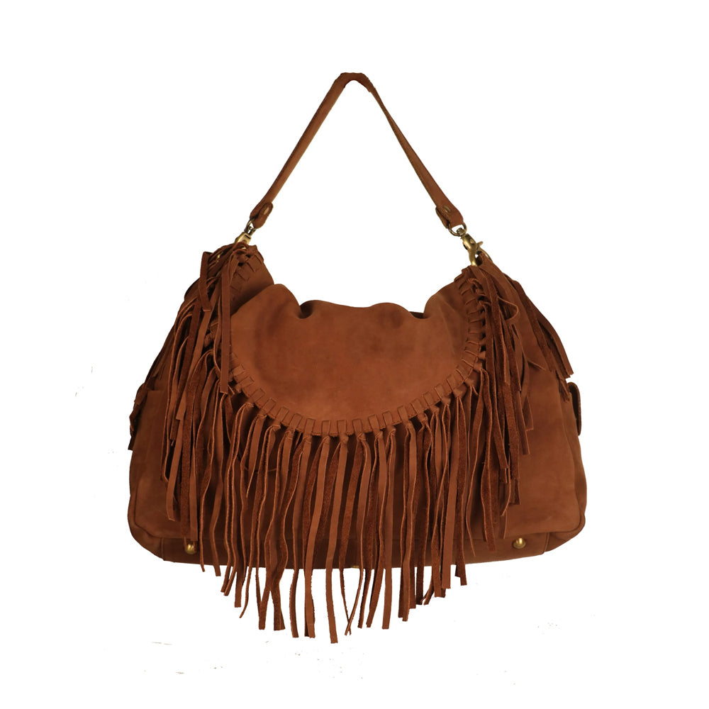 Fashionable Trendy Genuine Leather Women Brown Handbag - WeMe