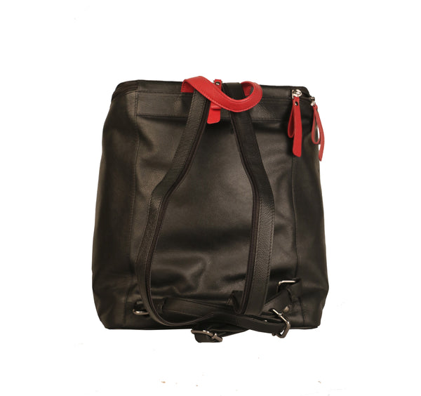 Attractive River Genuine Leather Nappa Women Black Backpack Bag - WeMe