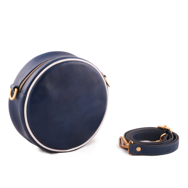 Floral Genuine Leather Women Blue Round Sling Bag - WeMe