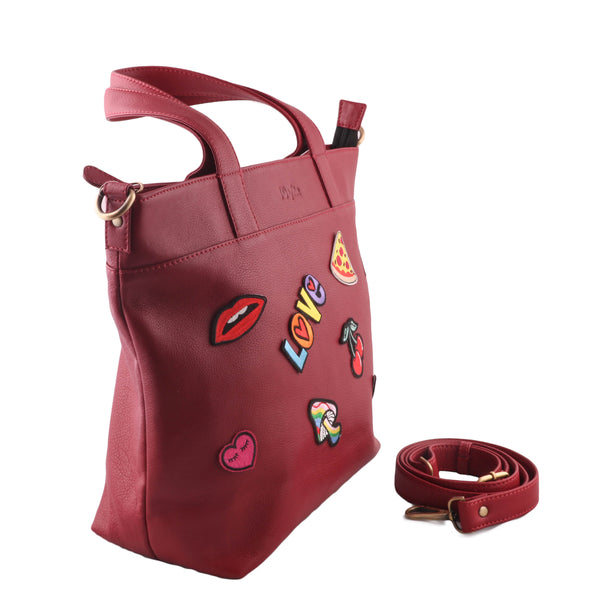 Iconic Genuine Leather Women Classic Red Tote Bag - WeMe