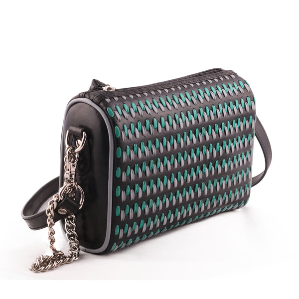 Multicoloured Black Woven Genuine Leather Women Crossbody Bag - WeMe