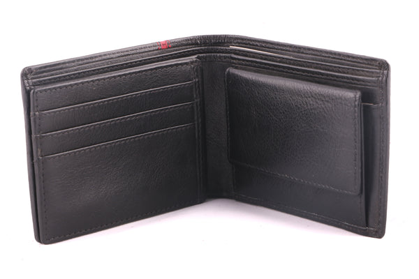 Boston Genuine Leather Men Black Red Billfold Wallet - WeMe