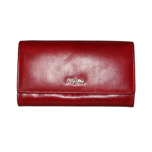 Classy Paris Genuine Leather Oily Waxy Women Red Clutch Wallet - WeMe