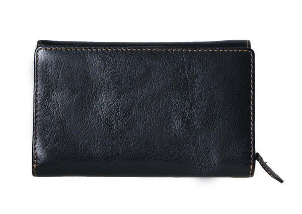 Handy Paris Genuine Leather Oily Waxy Women Black Trifold Clutch Wallet - WeMe